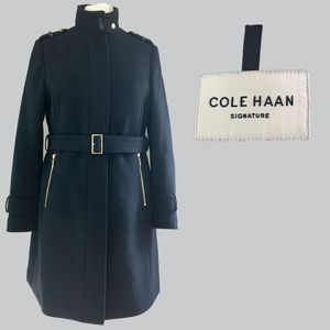 COLE HAAN Black Twill Wool Blend Military Coat